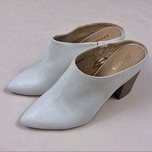 EXPRESS white Todrick block heel mules